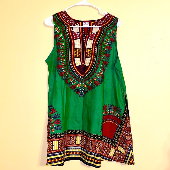 Tops - Green Sleeveless Dashiki Top 💚